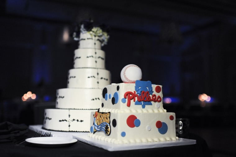 philadelphia sports groom's wedding cake - two little birds planning