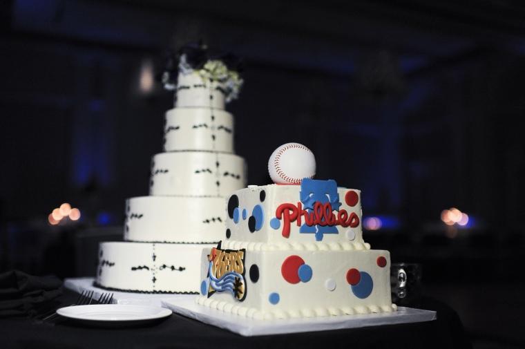 philadelphia sports groom's wedding cake - two little birds planning
