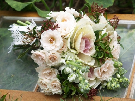 white and pink kale wedding bouquet