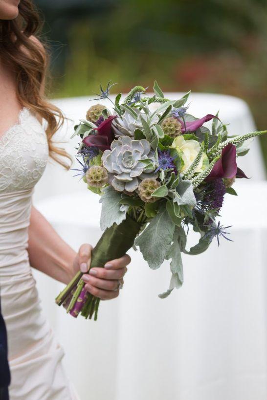 purple kale wedding bouquet