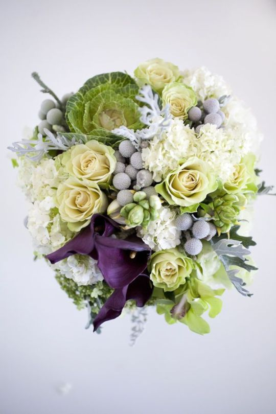 white and blue kale wedding bouquet