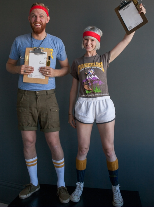 couples costumes - two little birds planning